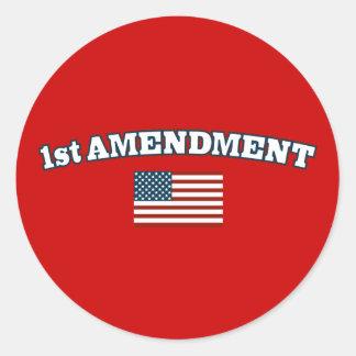1st Amendment American Flag Classic Round Sticker