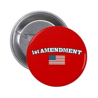 1st Amendment American Flag Pinback Button