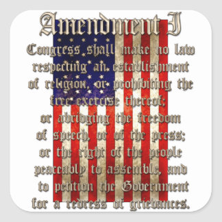 1st Amendment Square Sticker