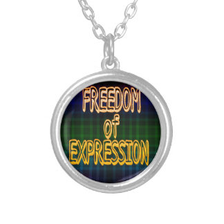 1st Ammendment Freedom of Expression Plaid Pattern Round Pendant Necklace