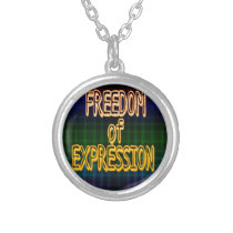 1st Ammendment Freedom of Expression Plaid Pattern Silver Plated Necklace