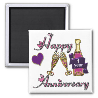 1st. Anniversary 2 Inch Square Magnet