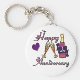 1st. Anniversary Basic Round Button Keychain