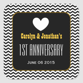 1st Anniversary Black and White Zig Zag and Heart Square Sticker