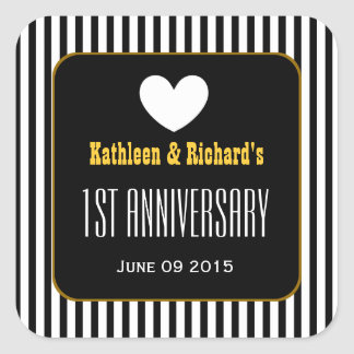1st Anniversary BLACK STRIPES PATTERN V10B1 Square Sticker