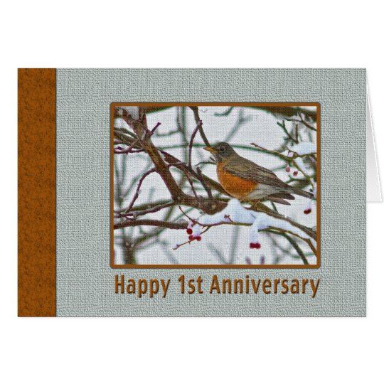 1st Anniversary Card with Robin in the Snow