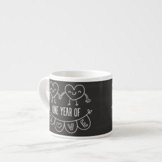 1st Anniversary Chalk Hearts for Her Espresso Mug