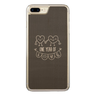 1st Anniversary Chalk Hearts Wood Carved iPhone 7 Plus Case