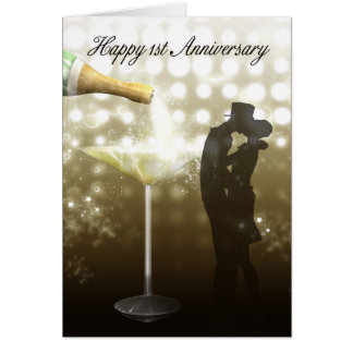 1st Anniversary - Champagne Card