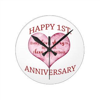1st. Anniversary Round Wallclocks