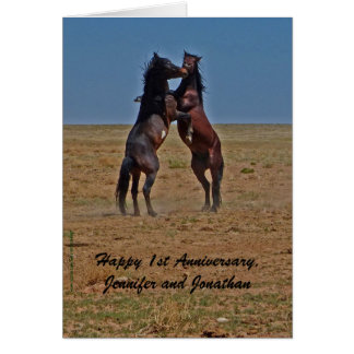 1st Anniversary Dancing Horses Click Up Your Heels Card