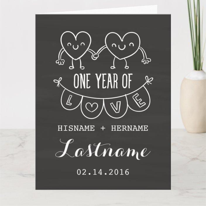 1st Anniversary Gift Chalk Hearts Greeting Card Zazzle Com