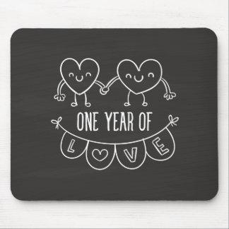1st Anniversary Gift Chalk Hearts Mousepad