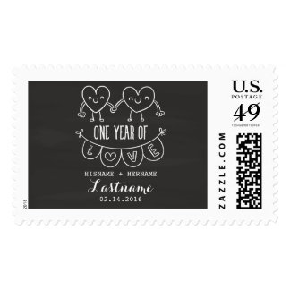 1st Anniversary Gift Chalk Hearts Postage