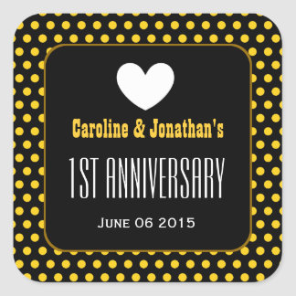 1st Anniversary Gold Pattern and Heart Square Sticker