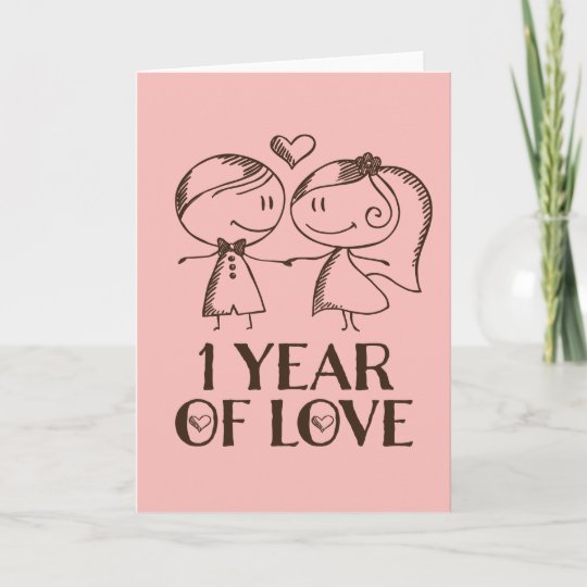 1st anniversary hand drawn couple greeting card zazzle 1st anniversary hand drawn couple greeting card m4hsunfo