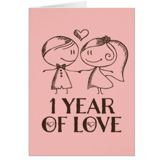 1st Anniversary Hand Drawn Couple Greeting Card