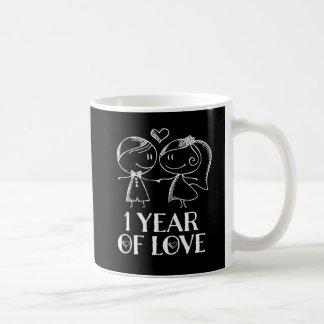 1st Anniversary Hand Drawn Couples Valentine Mug