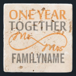"1st Anniversary Mr. &amp; Mrs Infinity Personalized Stone Coaster<br><div class=""desc"">Personalized family name gift for 1st anniversary.</div>"