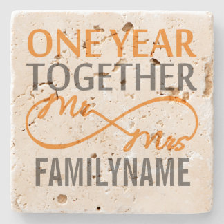 1st Anniversary Mr. & Mrs Infinity Personalized Stone Coaster