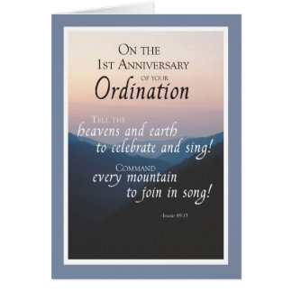 1st Anniversary of Ordination Congratulations with Card