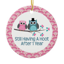 1st Anniversary Owl Wedding Anniversaries Gift Ceramic Ornament