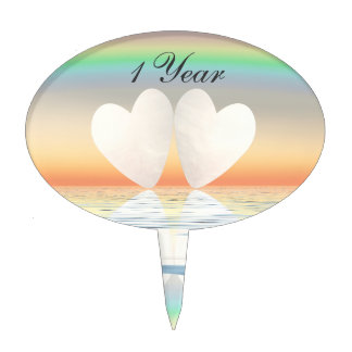 1st Anniversary Paper Hearts Cake Topper