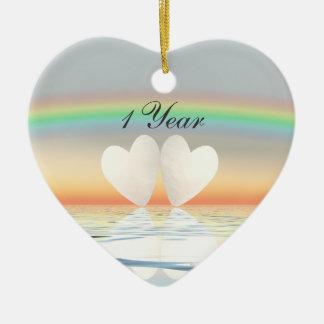 1st Anniversary Paper Hearts Ceramic Ornament