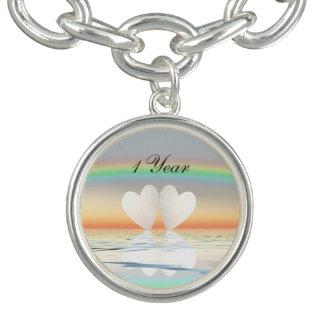 1st Anniversary Paper Hearts Charm Bracelet