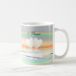 1st Anniversary Paper Hearts Coffee Mug