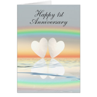1st Anniversary Paper Hearts Greeting Card