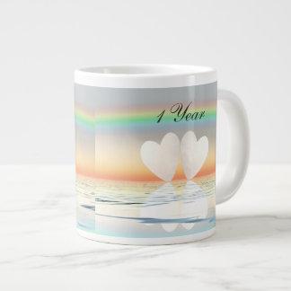 1st Anniversary Paper Hearts Large Coffee Mug