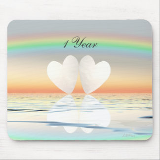 1st Anniversary Paper Hearts Mouse Pad