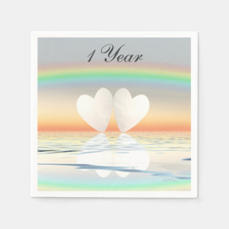 1st Anniversary Paper Hearts Napkin