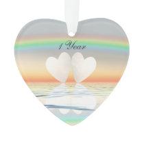 1st Anniversary Paper Hearts Ornament
