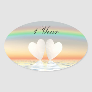 1st Anniversary Paper Hearts Oval Sticker