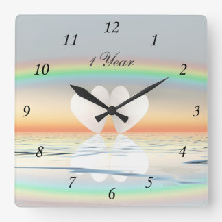 1st Anniversary Paper Hearts Square Wall Clock