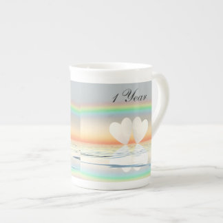 1st Anniversary Paper Hearts Tea Cup