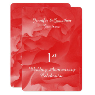1st Anniversary Party Invitation Coral Rose Petals