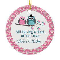 1st Anniversary Personalized Owl Couple Gift Ceramic Ornament