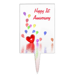 1st Anniversary Red Heart and Balloons Cake Topper