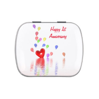 1st Anniversary Red Heart and Balloons Candy Tins