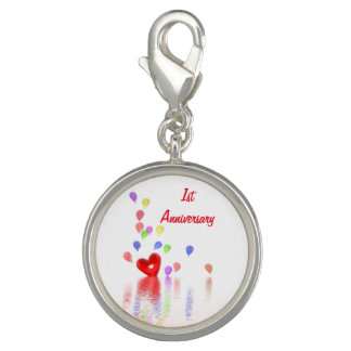 1st Anniversary Red Heart and Balloons Charm