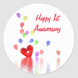 1st Anniversary Red Heart and Balloons Classic Round Sticker