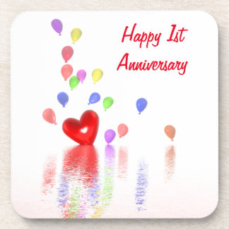 1st Anniversary Red Heart and Balloons Coaster