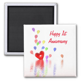 1st Anniversary Red Heart and Balloons 2 Inch Square Magnet