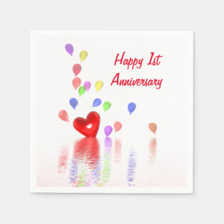 1st Anniversary Red Heart and Balloons Napkin