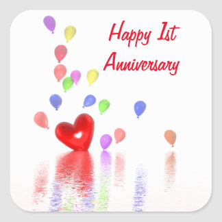 1st Anniversary Red Heart and Balloons Square Sticker