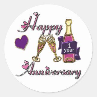 1st. Anniversary Classic Round Sticker