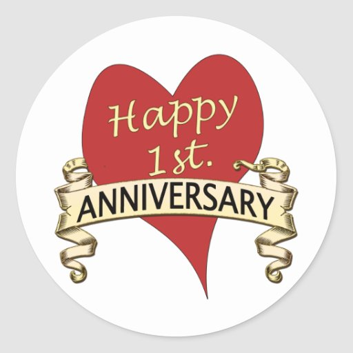 1st anniversary classic round sticker zazzle for What to get for first wedding anniversary